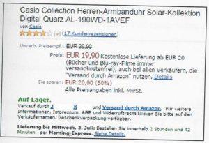 BGH Amazon Händler falsche UVP
